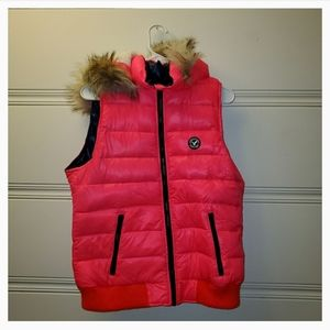 Hot Pink Neon Puffer Vest with Sherpa Hood